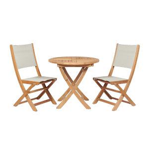 Stella White Teak Outdoor Round Folding Table and Chair Bistro Set, 3-Piece