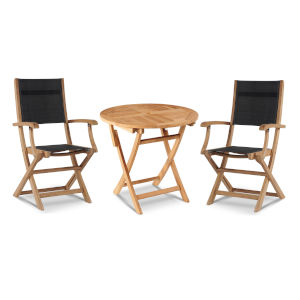 Stella Black Teak Outdoor Bistro Set Folding Table and Armchairs, 3-Piece