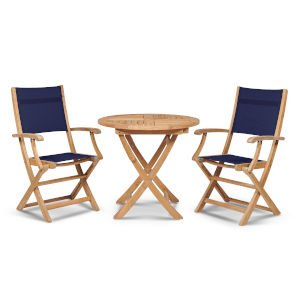 Stella Blue Teak Outdoor Bistro Set Folding Table and Armchairs, 3-Piece