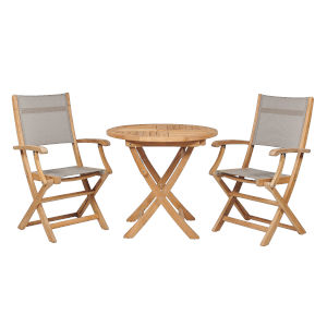 Stella Taupe Teak Outdoor Bistro Set Folding Table and Armchairs, 3-Piece