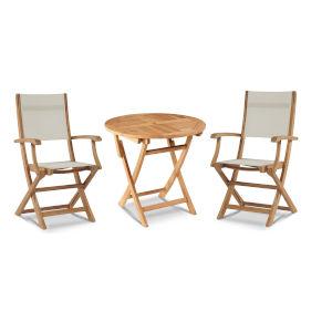 Stella White Teak Outdoor Bistro Set Folding Table and Armchairs, 3-Piece