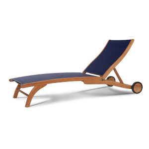 Pearl Blue Teak Outdoor Chaise Lounge with Wheels