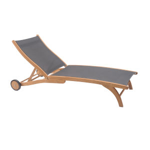 Pearl Taupe Teak Outdoor Chaise Lounge with Wheels
