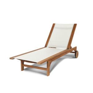 Montauk White Teak Outdoor Sunlounger with Wheels