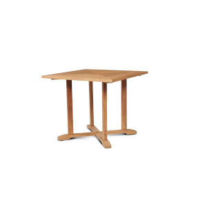 Avery Nature Sand Teak Square Teak Outdoor Dining Table with Umbrella Hole