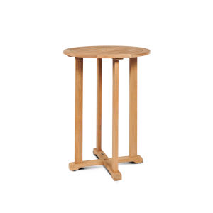 Palm Nature Sand Teak Round Teak Bar Height Outdoor Bistro Table with Umbrella Hole