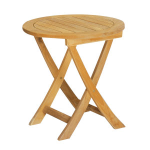 Perrie Nature Sand Teak Round Teak Outdoor Side Folding Table