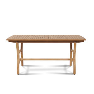 Pacifica Nature Sand Teak Teak Rectangular Outdoor Dining Table with Umbrella Hole