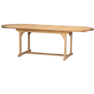 January Nature Sand Teak Oval Teak Teak Outdoor Dining Table with Double Extensions