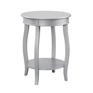 Silver Round Table with Shelf
