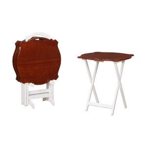 Addisone Hazelnut and White Folding Tray Tables
