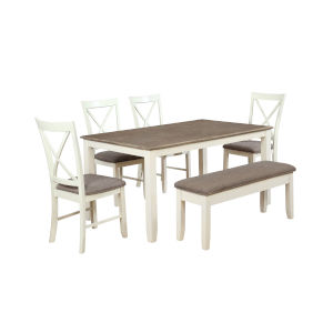 Jane White Dining Set, 6 Piece Set