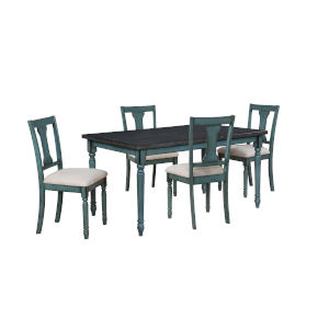 Willow Teal Blue Dining Set, 5 Piece