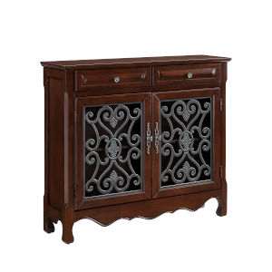 Olivia Light Cherry 2-Door 2-Drawer Scroll Accent Cabinet