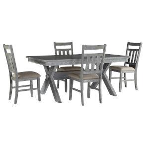 Bella Grey Oak Stain Dining Set, 5 Piece Set