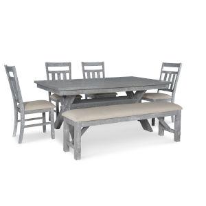 Bella Grey Oak Stain Dining Set, 6 Piece Set