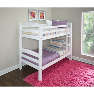 Levi White Twin Over Twin Bunk Bed