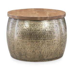 Leah Gold Drum with Storage Table