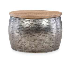Leah Silver Drum with Storage Table