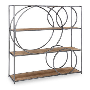 Adler Natural and Gun Metal Circle Bookshelf