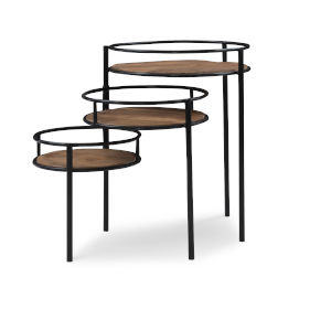 Collis Natural and Black Three Tiered Plant Stand Table