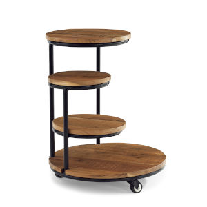 Collis Natural and Black Four Tiered Plant Stand Wheels Table