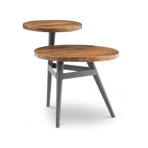 Collis Natural and Gun Metal Two Tiered Side Table