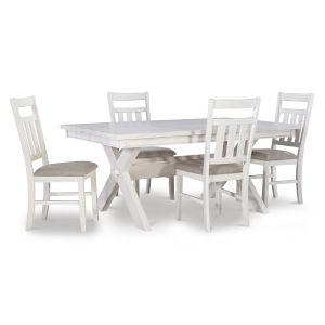 Turino Distressed White Dining Set, 5 Piece Set