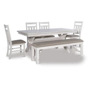 Turino Distressed White Dining Set, 6 Piece Set