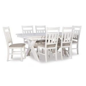 Turino Distressed White Dining Set, 7 Piece Set