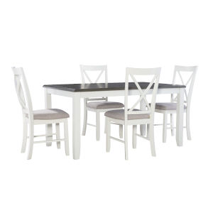 Jane Dark Grey and White Dining Set, 5 Piece Set