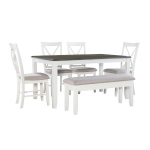 Jane Dark Grey and White Dining Set, 6 Piece Set