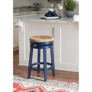 Ellie Navy Blue and Natural 25-Inch Swivel Counter Stool