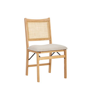 Bina Natural and Beige Folding Dining Side Chair