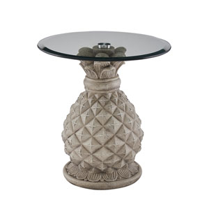 Paradisa Gray Round Pineapple Accent Side Table