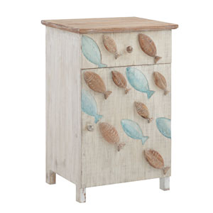 Caspian Natural and Distressed White Storage Side Table