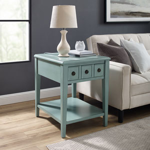 Aubrey Distressed Teal Side Accent Table
