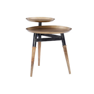 Armania Brown and Black Two Tiered Side Table