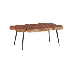 Aurelio Brown and Black Live Edge Large Coffee Table