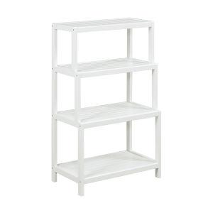 Dunnsville White 4-Tier Step Back Shelf Bookcase