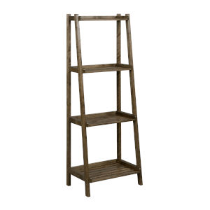Dunnsville Antique Chestnut 4-Tier Ladder Leaning Shelf Bookcase