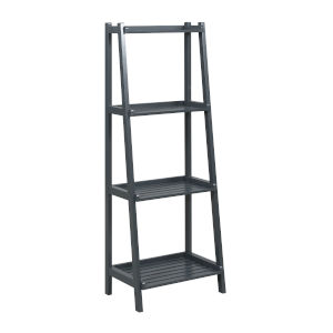 Dunnsville Graphite 4-Tier Ladder Leaning Shelf Bookcase