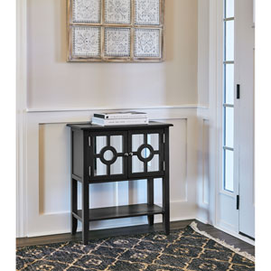 Black Accessory Cabinet with Mirrored Front