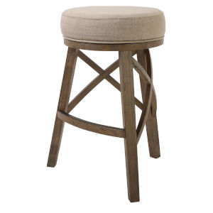 Regal Cream and Brown 31-Inch Bar Height Swivel Stool