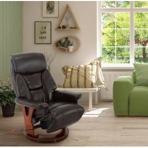 Bern Angus Brown Breathable Air Leather Recliner