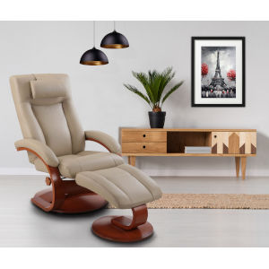 Hanover Cobblestone Top Grain Leather Manual Recliner with Ottoman and Pillow