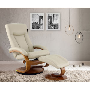 Hanover Beige Breathable Air Leather Manual Recliner and Ottoman