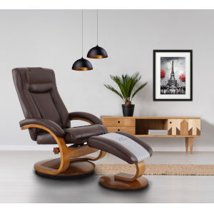 Hanover Whisky Breathable Air Leather Manual Recliner with Ottoman and Pillow