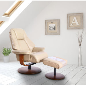 Lido Cobble Breathable Air Leather Manual Recliner and Ottoman