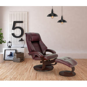 Milan Merlot Top Grain Leather Manual Recliner and Ottoman